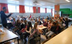 Foto van Nico De Braeckeleer tijdens zijn lezing