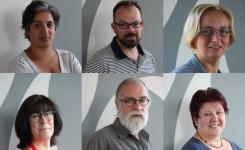 Zes gegroepeerde foto's van de bibliotheekmedewerkers
