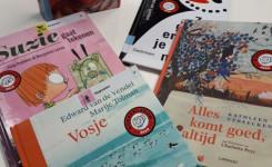 Foto van de voor de Boekenleeuw en de Boekenpauw genomineerde boeken