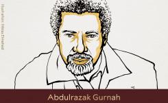 Tekening van de winnaar van de Nobelprijs Literatuur 2021