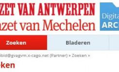 Schermafdruk van de website van het Digitale Archief van de Gazet van Antwerpen