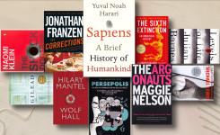 Foto met een aantal boeken die voorkomen in de top 100 van The Guardian