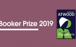 Banner van de Booker Prize 2019 met de kaften van de winnende boeken
