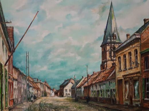Foto van een schilderij van Alfons Rappooort dat het centrum van Putte voorstelt