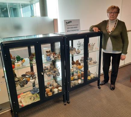 Foto van de tentoonstellingskasten met de collectie mosterdpotjes van Lea Van Hoof