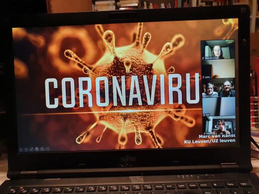 Schermafbeelding van de online lezing door viroloog Marc Van Ranst