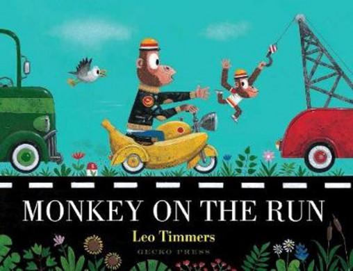 Voorplat van het boek 'Monkey on the run' van Leo Timmers