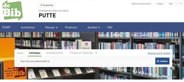 Schermafdruk van de nieuwe website van de Putse bib