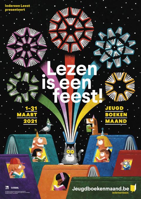 Affiche van de Jeugdboekenmaand 2021 met de slogan 'Lezen is een feest'